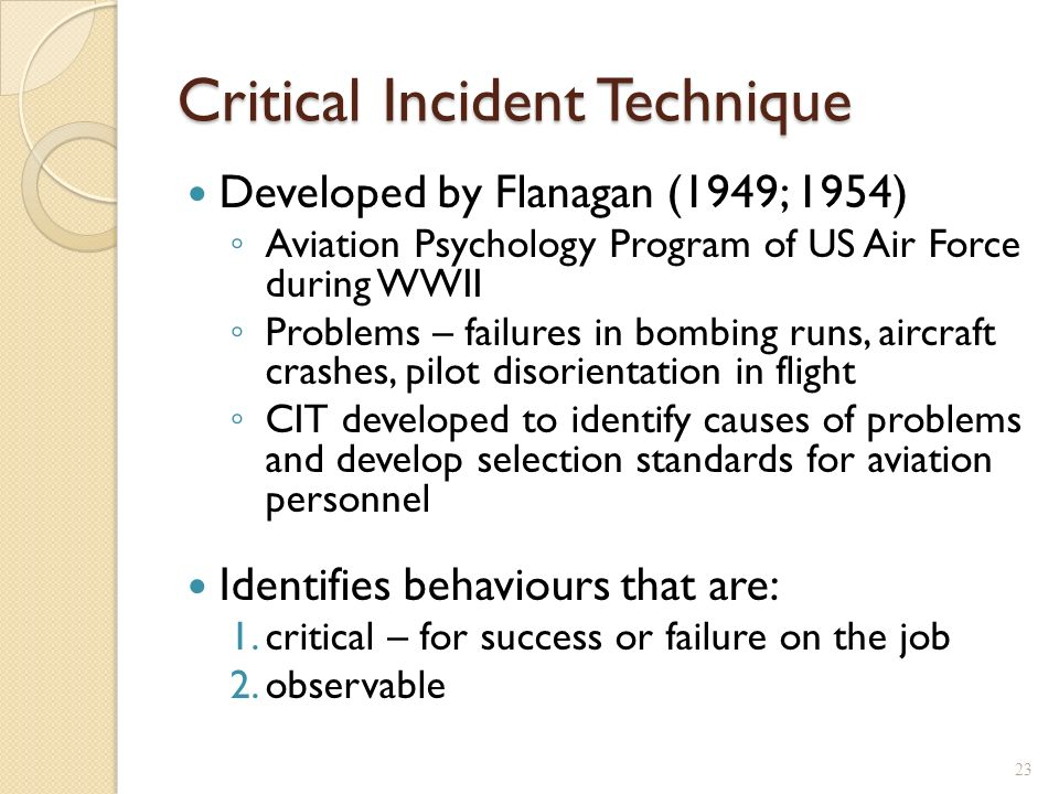 Critical incident analysis essay