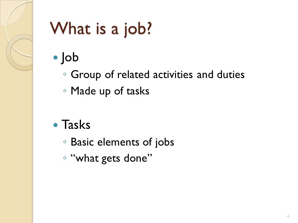 the different elements of a job description Job purpose: this is a one sentence description of the overall purpose/mission of the job it provides the rationale for why the job exists and how it contributes to.