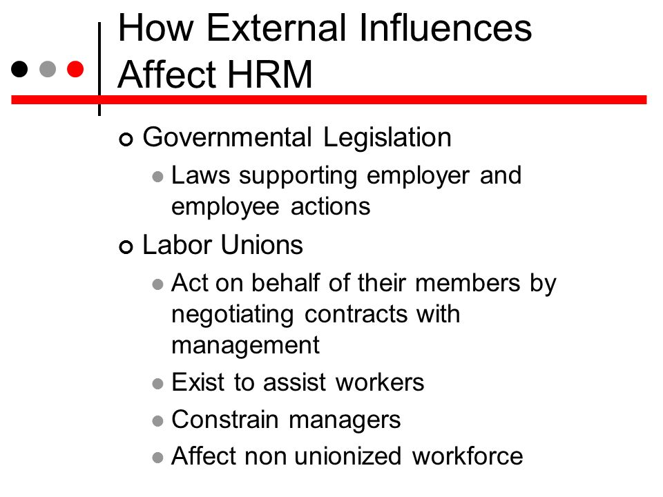 the effects of human resource management Related terms: employee manual employment contracts employment practices liability insurance the field of human resources management is greatly influenced and shaped by the state and federal laws governing employment issues indeed, regulations and laws govern all aspects of human resource.