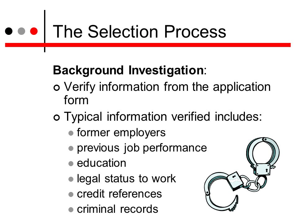 typical selection process This document provide you the typical recruitment and selection process,, 1- determine the vacancy 2- write job description 3- draft the personal specification.