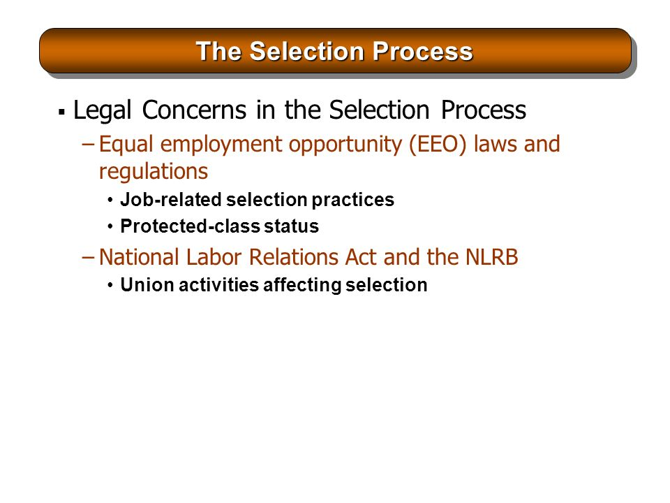 describe how selection practices are related Regarding specific policies and practices in their  selection assessment methods  ing expert advice on eeo-related legal matters and serving as an.