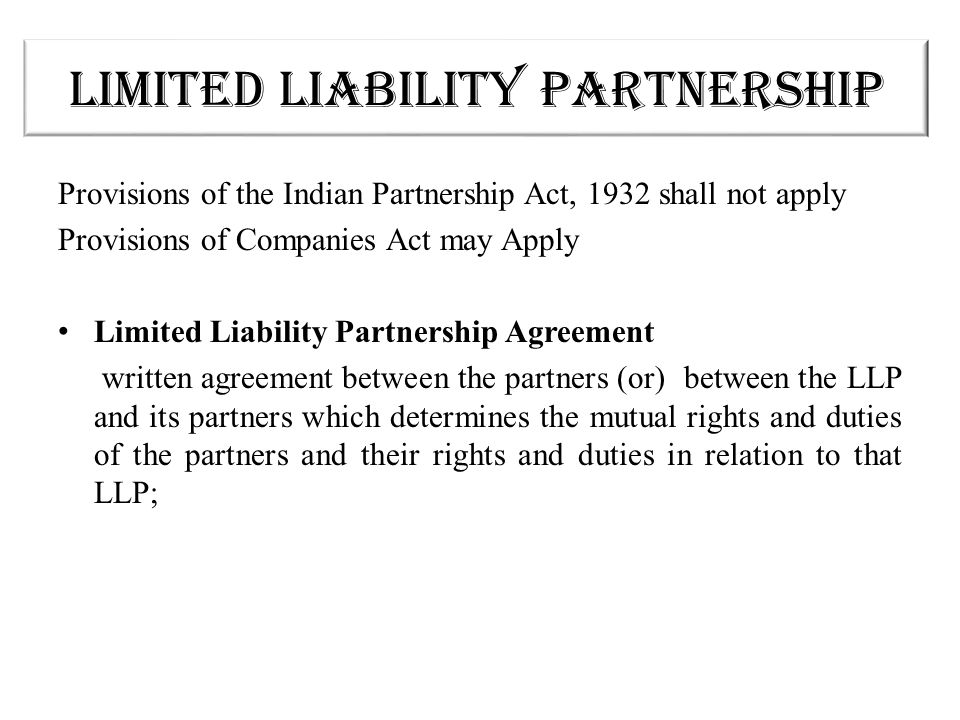 The Limited Liability Partnership An Alternative Vehicle - Ppt