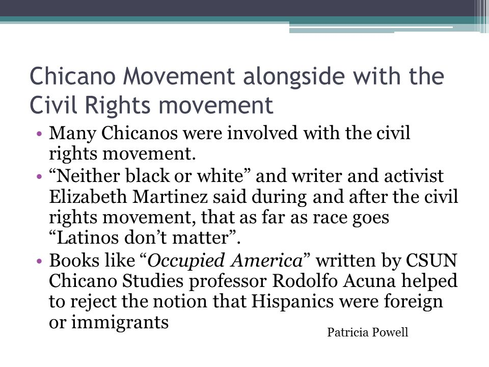 an essay on the chicano movement The chicano movement of the 1960s, also called the chicano civil rights movement, is an extension of the mexican american civil rights movement which began in the.