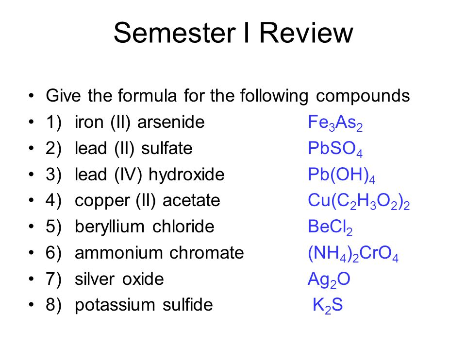 oxide and correct formulas 3 yttrium oxide 2 write the correct chemical formula for each of the following compounds a)  give the correct names for each of the compounds listed below a) li.
