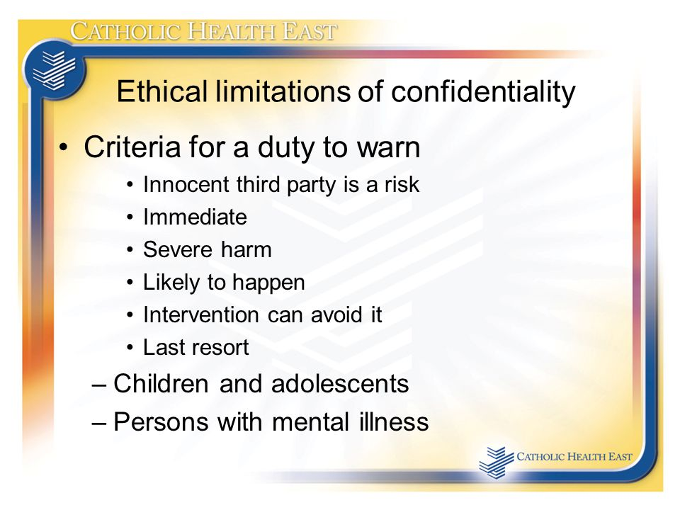 duty to warn and numerous ethical Eap ethics and the professions  using multiple tiers of justification when thinking through employee as-sistance ethical dilemmas' to th is end,  there is a duty to warn potential vic-tims if the impaired professional in-tends to harm or kill them, a duty to report child abuse, and in cases of the.