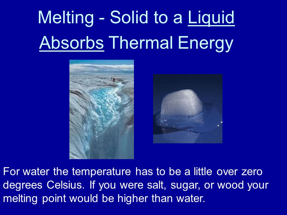 Melting - Solid to a Liquid Absorbs Thermal Energy