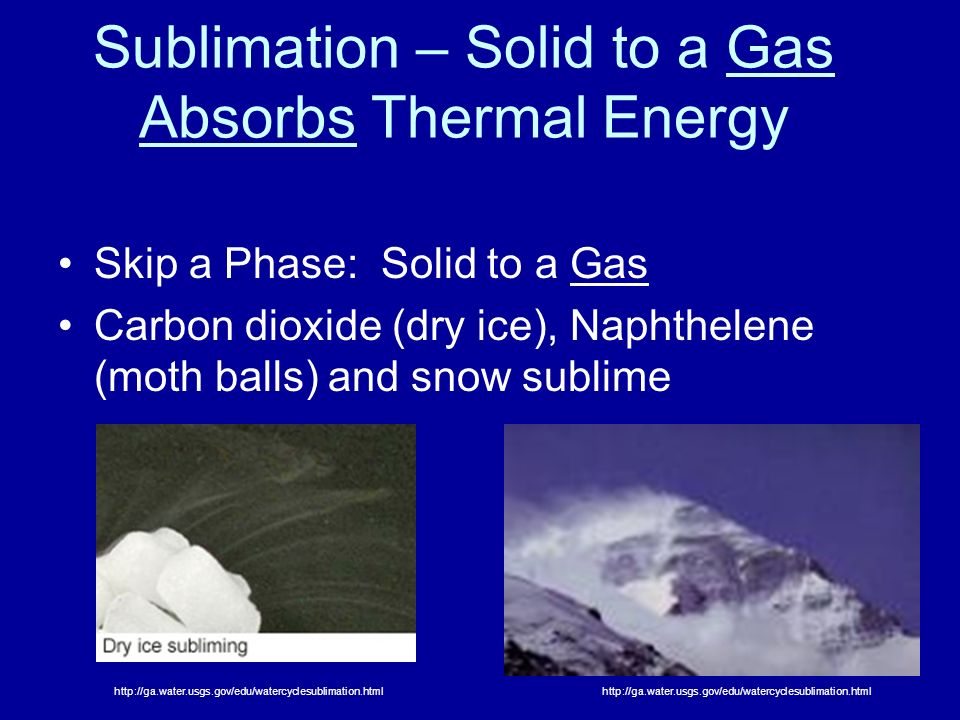 Sublimation – Solid to a Gas Absorbs Thermal Energy