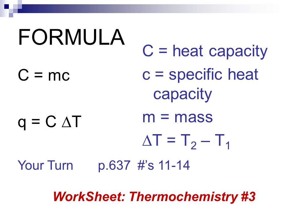 Unit 3 Thermochemistry ppt video online download – Specific Heat Worksheet