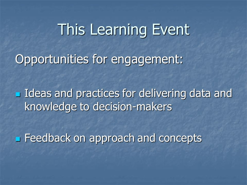 This Learning Event Opportunities for engagement: