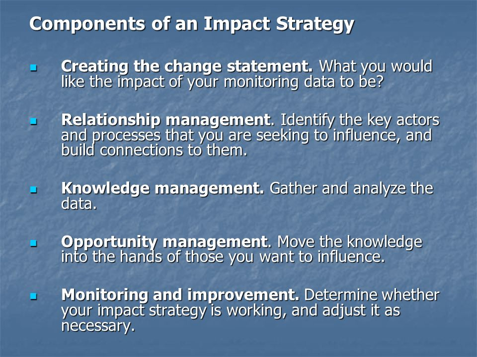 Components of an Impact Strategy