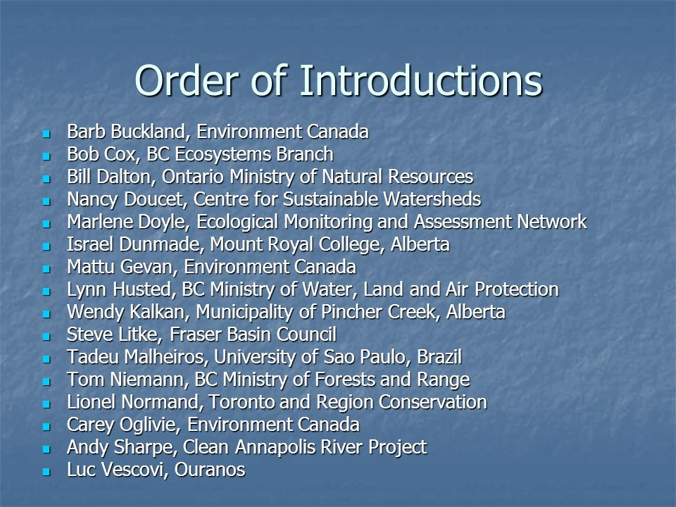 Order of Introductions