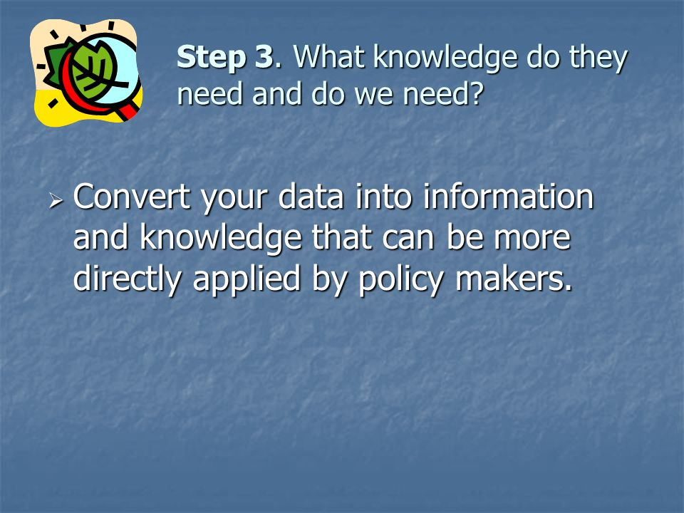 Step 3. What knowledge do they need and do we need