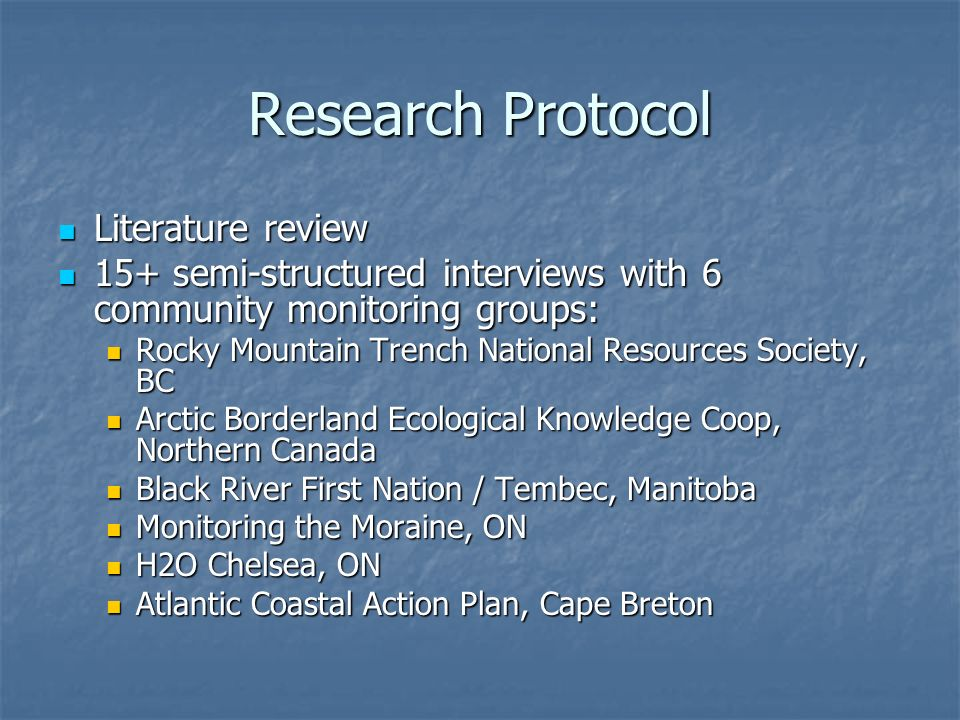Research Protocol Literature review