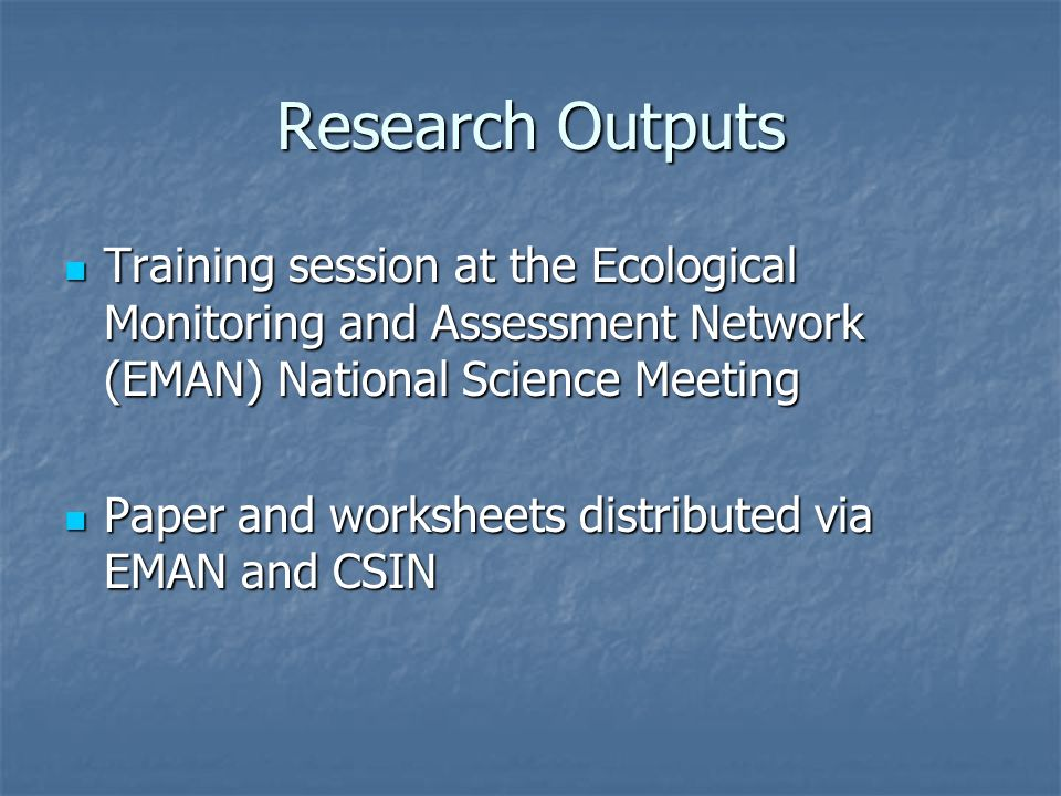 Research Outputs Training session at the Ecological Monitoring and Assessment Network (EMAN) National Science Meeting.