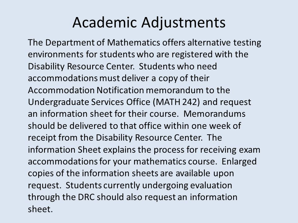 Academic Adjustments