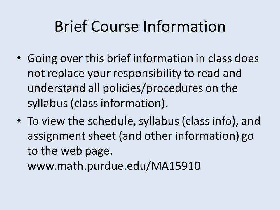 Brief Course Information