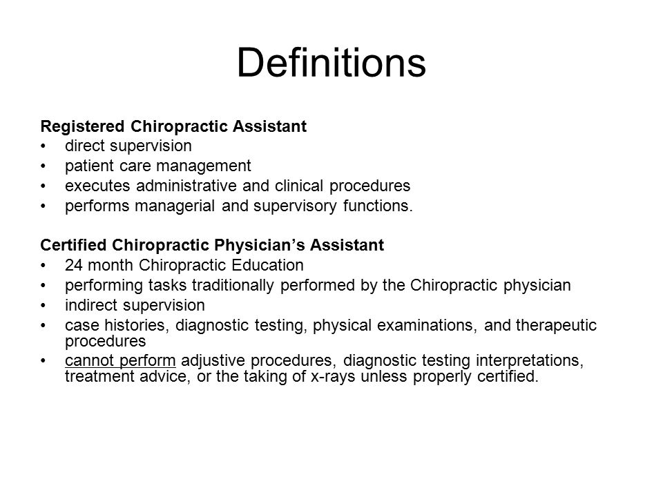 definitions registered chiropractic assistant direct supervision - Chiropractic Assistant Duties