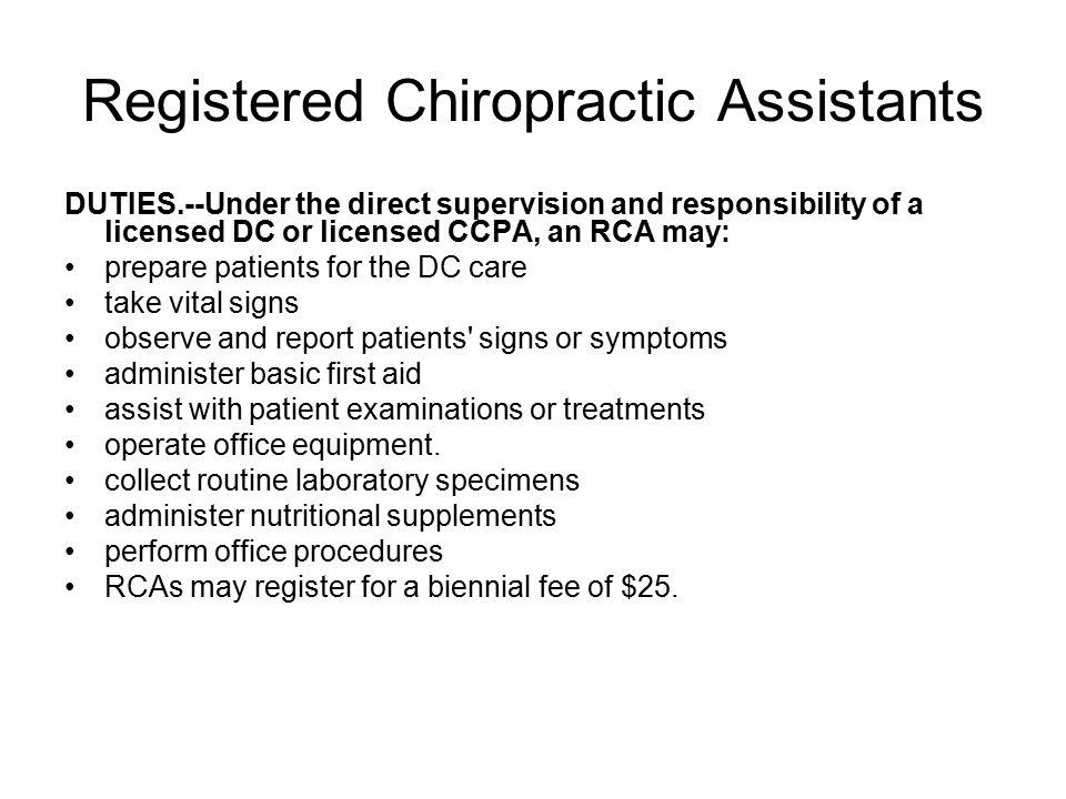 registered chiropractic assistants - Chiropractic Assistant Duties