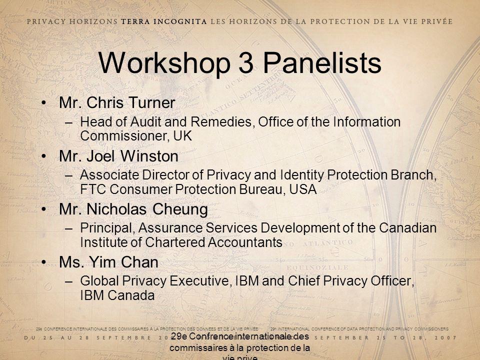 Workshop 3 Panelists Mr. Chris Turner Mr. Joel Winston