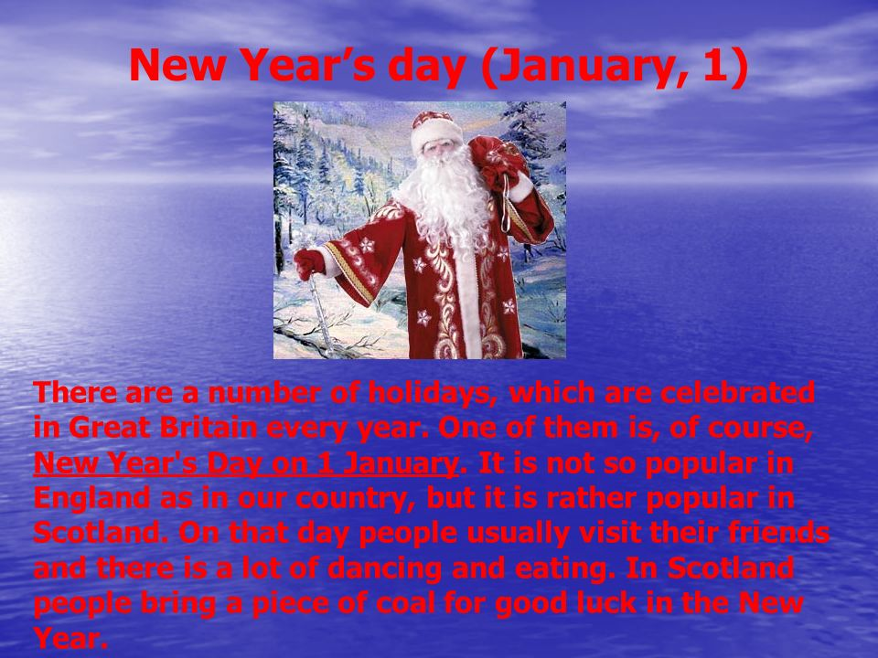New Year's day (January, 1)
