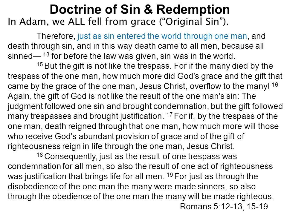 doctrine of sin Luther's doctrine of justification by faith alone  wesley's concept of sin for the purpose of this discussion, the following topics will be followed: 1.