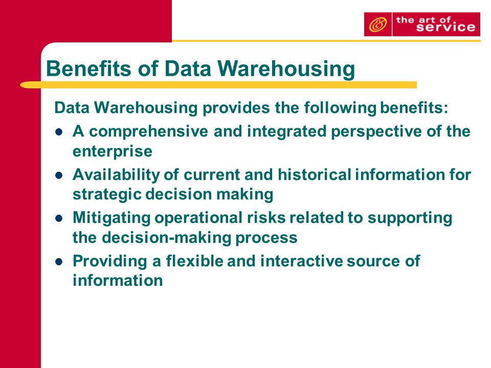 data warehousing benefits and implications An enterprise data warehouse is a unified database that holds all the business  information an organization and makes it accessible all across the company.