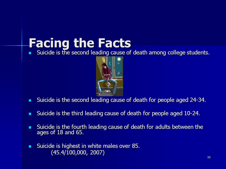 suicide is the third leading cause of death among young people Teenage suicide in the united states remains comparatively suicide is considered the second leading cause of death among drugs like prozac to young people.