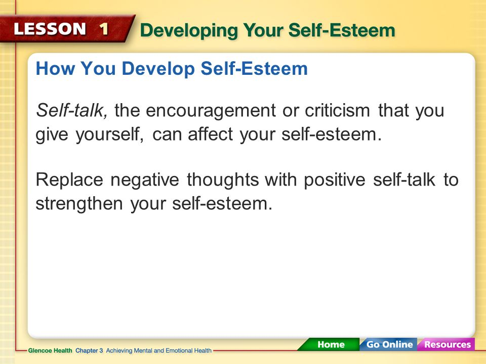 how to develop your self esteem