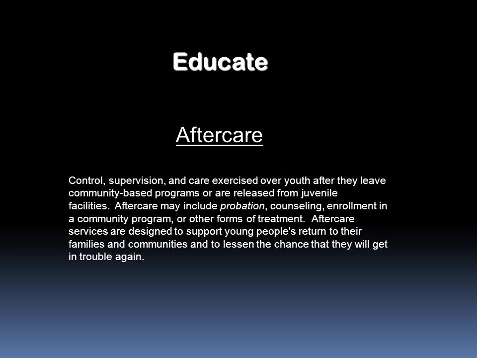 Educate Aftercare.