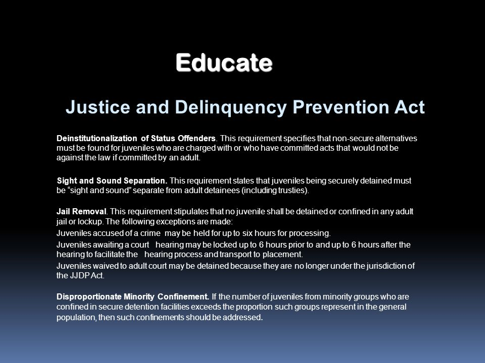 Educate Justice and Delinquency Prevention Act