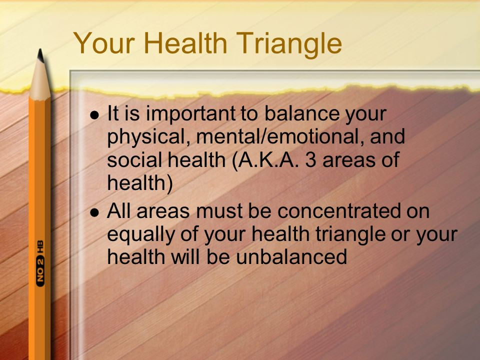 Your Health Triangle It is important to balance your physical, mental/emotional, and social health (A.K.A. 3 areas of health)