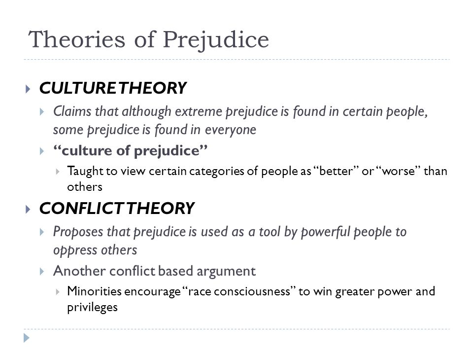 Theories of Prejudice CULTURE THEORY CONFLICT THEORY