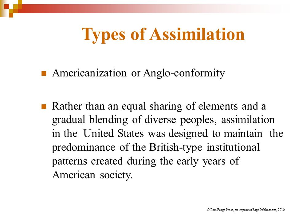 anglo conformity Anglo-conformity, or americanization, describes assimilation in the unites states as a coercive and one-sided process that was designed to maintain the predominance of the english language and the british-type institutional patters created during the early years of american society.
