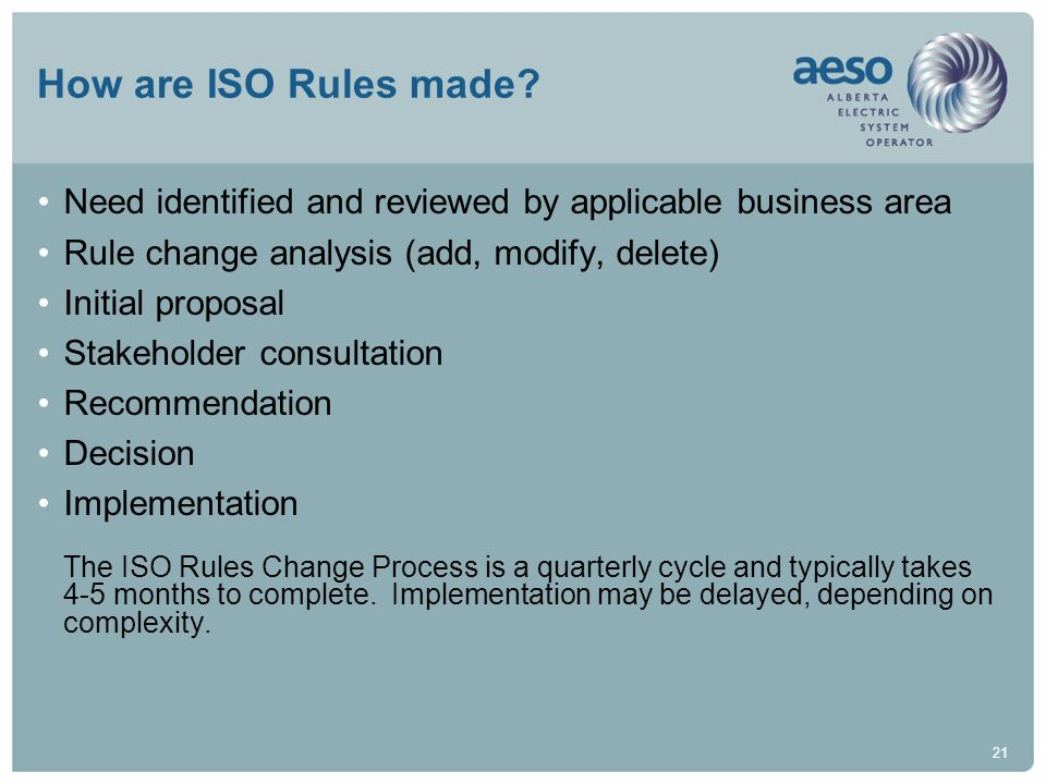 How are ISO Rules made Need identified and reviewed by applicable business area. Rule change analysis (add, modify, delete)