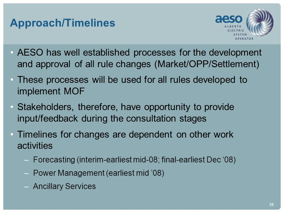 Approach/Timelines AESO has well established processes for the development and approval of all rule changes (Market/OPP/Settlement)