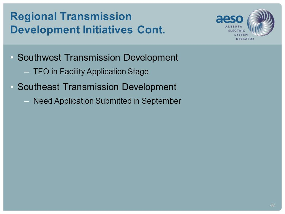 Regional Transmission Development Initiatives Cont.