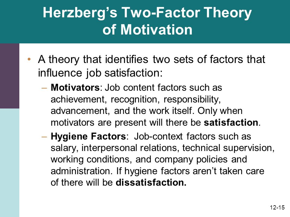 examining herzberg s two factor theory Herzberg's theory - free herzberg's two-factor theory re-visited herzberg and which this would be achieved was by examining what motivates people to.