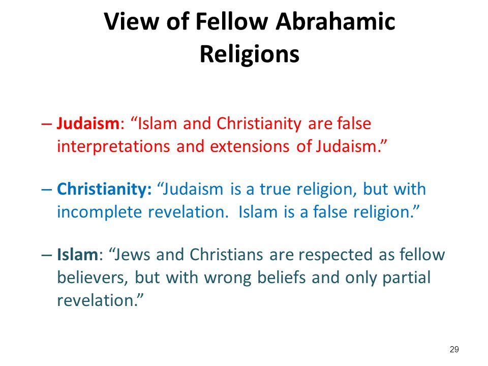 an opinion that islam is derived from christianity Three of the world's major religions -- the monotheist traditions of judaism, christianity, and islam -- were all born in the middle east and are all inextricably linked to one another.
