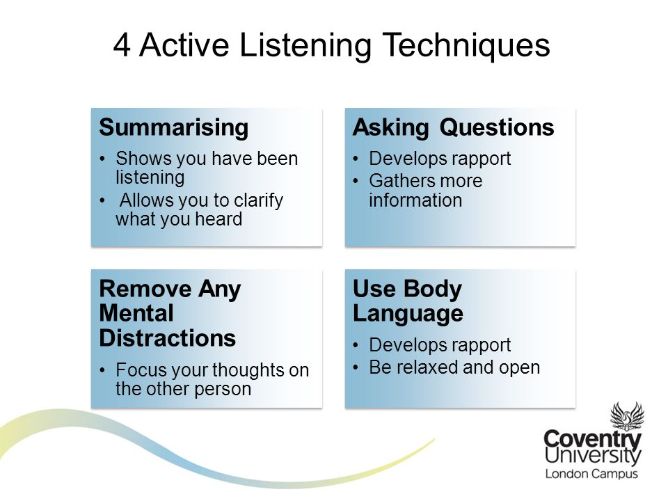 active listening 2 essay Learn about active listening, get a list of skills with examples of techniques, and find out why employers value effective listeners.
