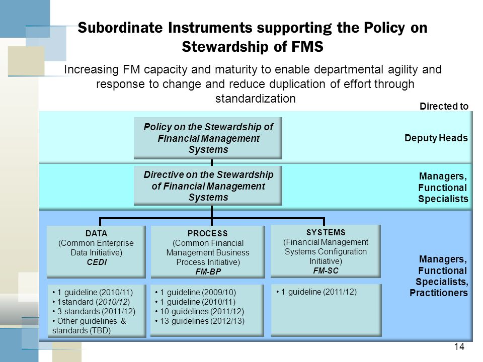 Subordinate Instruments supporting the Policy on Stewardship of FMS