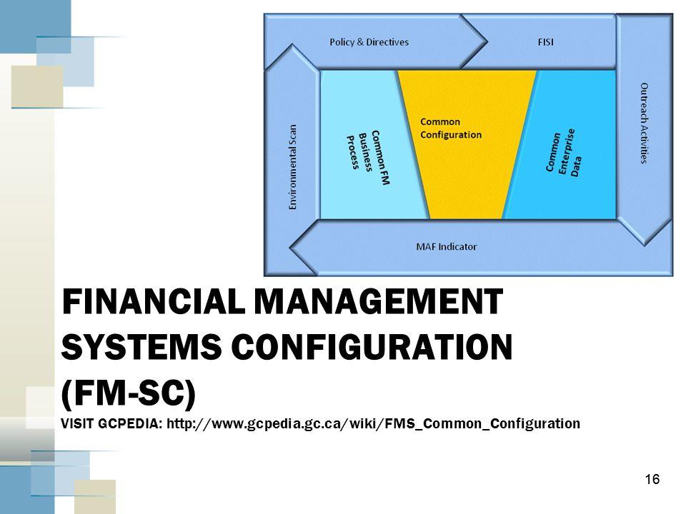 FINANCIAL MANAGEMENT SYSTEMS CONFIGURATION (FM-SC) VISIT GCPEDIA: http://www.gcpedia.gc.ca/wiki/FMS_Common_Configuration