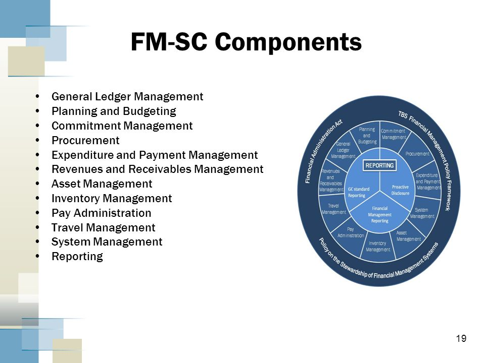 FM-SC Components General Ledger Management Planning and Budgeting