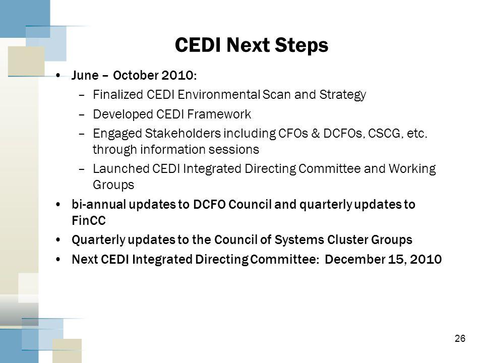 CEDI Next Steps June – October 2010: