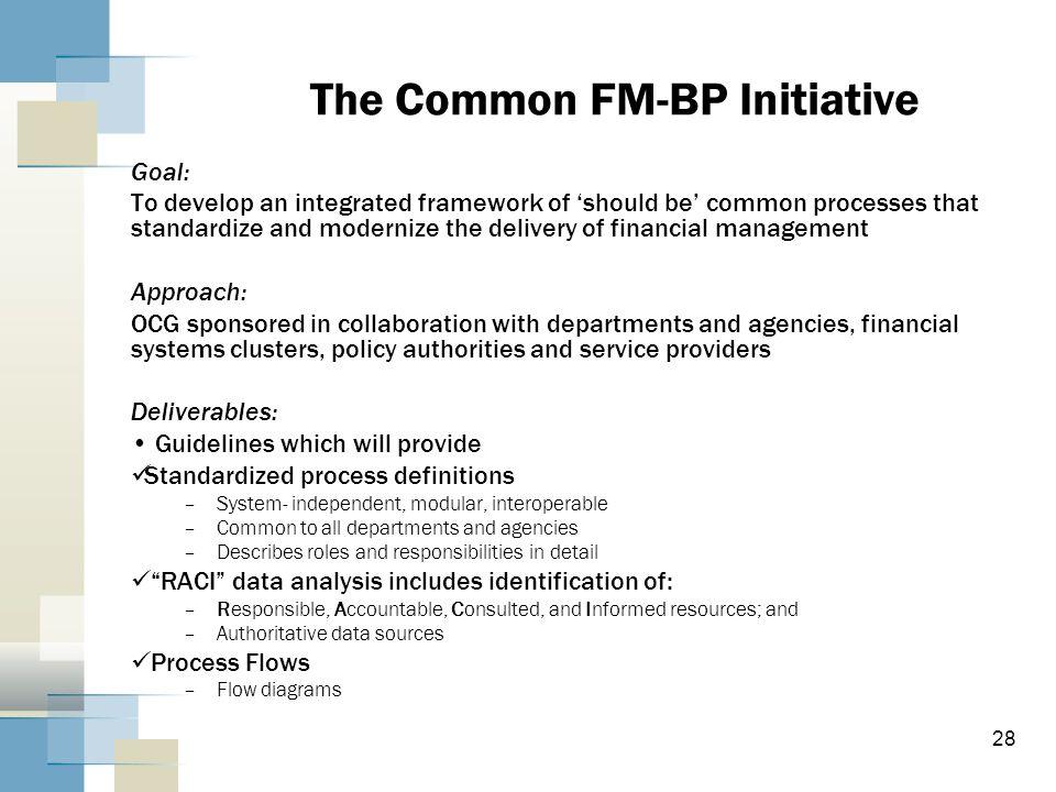 The Common FM-BP Initiative