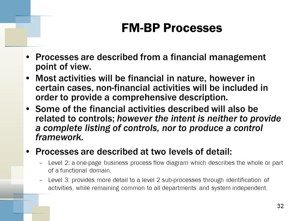 FM-BP Processes Processes are described from a financial management point of view.