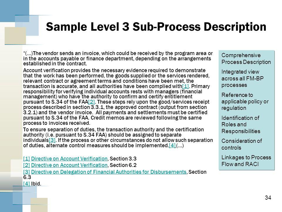 Sample Level 3 Sub-Process Description