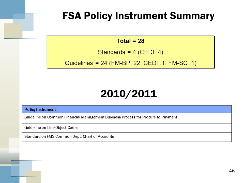 FSA Policy Instrument Summary