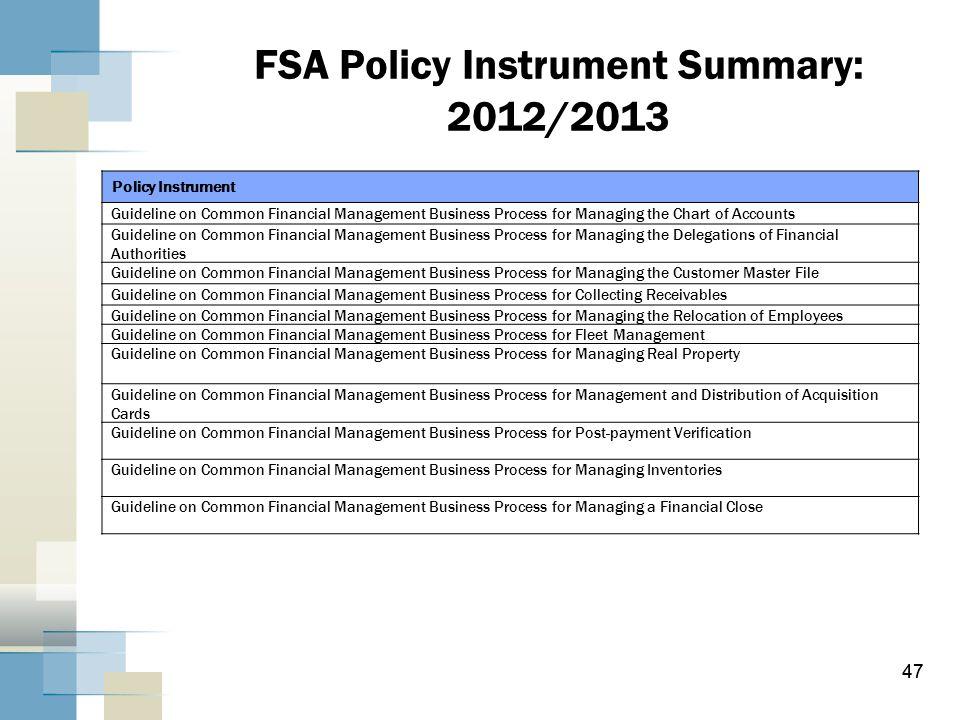 FSA Policy Instrument Summary: 2012/2013