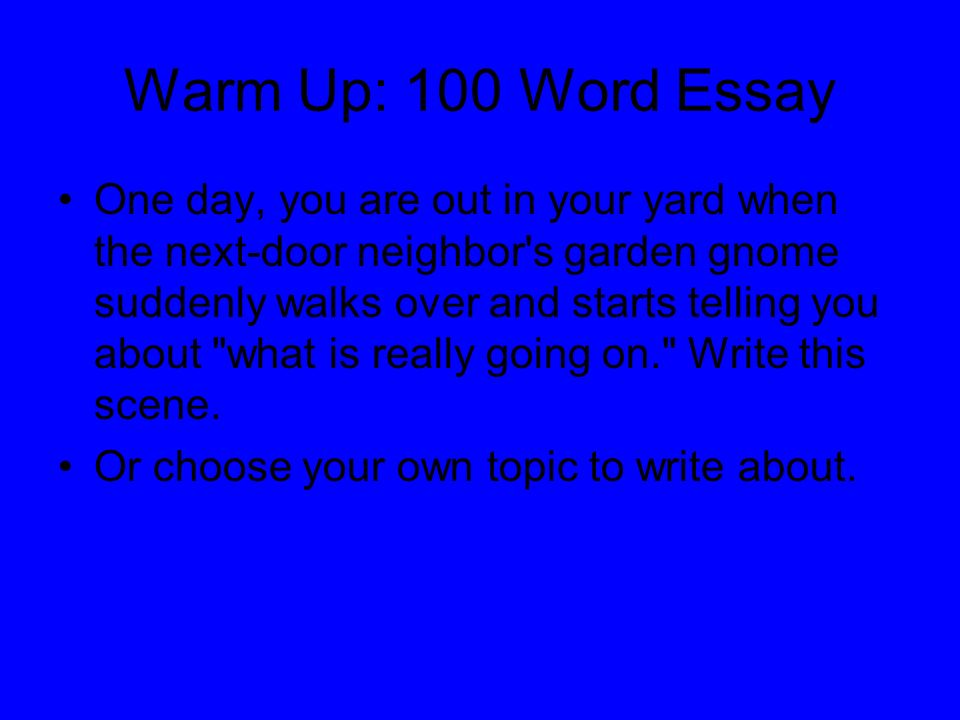 the bing the bang and the bongo ppt  warm up 100 word essay