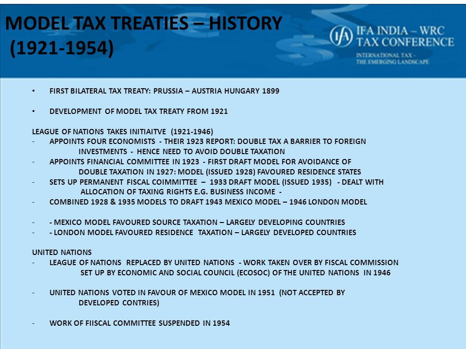 The united nations model treaty some thoughts ppt download model tax treaties history 1921 1954 sciox Gallery
